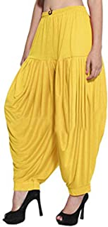 Sharvgun Women's Punjabi Patiala Salwar Viscose Lycra Pant Baggy Trouser Free Size New Dhoti Yoga Pant Yellow