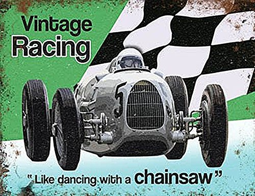 Petite (150 x 200 mm) plaque en métal – Moteur Racing – comme Dancing avec une tronçonneuse