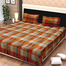 Exotic Home Fleece Double Bed Sheet with 2 Pillow Covers (Orange)