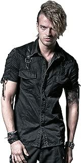 Men's Black Gothic Punk Steampunk Cotton Casual Button-Down Short Sleeves Shirt