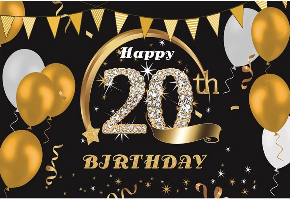 DORCEV 12x10ft Happy 20th Birthday Baltimore Mall Golden Backdrop Balloons Purchase Flag