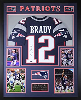 Tom Brady Autographed Navy New England Patriots Nike Jersey - Beautifully Matted and Framed - Hand Signed By Tom Brady and Certified Authentic by Tristar - Includes Certificate of Authenticity