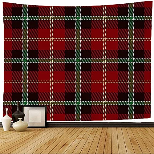 Tapestry Wall Hanging Cross Tartan Celtic Pattern Hipster for Red Black Fashion Abstract Textures Kilt Cloth Tiles Decor Wall Tapestry Dorm Tapestry for Room 50x60 Inches