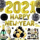 JWTOYZ Silvester Deko 2021, Neujahr Deko 2021, Happy New Year Girlande, Fotorequisiten, Konfetti, Papier Pompoms, Silvesterpartydeko für Silvesterparty