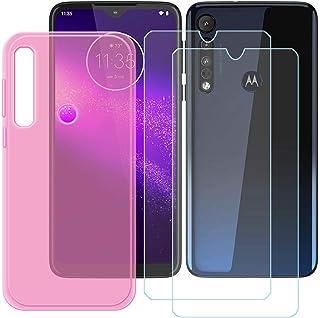 YZKJ Skal för Motorola G8 Plus Cover rosa silikon skyddsskal TPU skal skal skal + 2 stycken pansarglas skärmskydd skyddsfo...