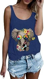 SADUORHAPPY Womens Tank Tops Summer Sleeveless Cute Animal Print T Shirts Casual Loose O-Neck Tunic Blouses