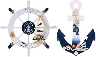 """11"""" Nautical Decor Beach Wooden Ship Wheel and Wood Anchor with Rope Nautical Boat Steering Rudder Wall Decor Door Hanging..."""