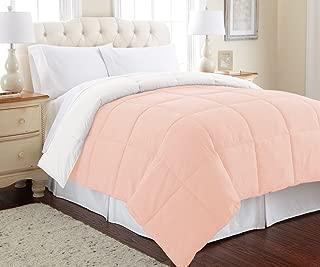 Amrapur Overseas Goose Down Alternative Microfiber Quilted Reversible Comforter / Duvet Insert - Ultra Soft Hypoallergenic Bedding - Medium Warmth for All Seasons - [Full/Queen, Blush/White]