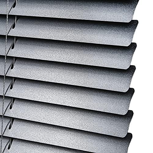 JH1 Jalousie Horizontale Aluminiumlegierung Jalousien 40-140 cm Breit, 25mm Mattiert Silber Metalllamellen Wasserdicht & Leicht Sauber, Gleishalterung für Küche Badezimmer