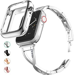 Marge Plus Compatible with Apple Watch Band 38mm 40mm with Case, Women Bling Wristband for iWatch Series 5 4 3 2 1 Metal Stylish Strap, Silver