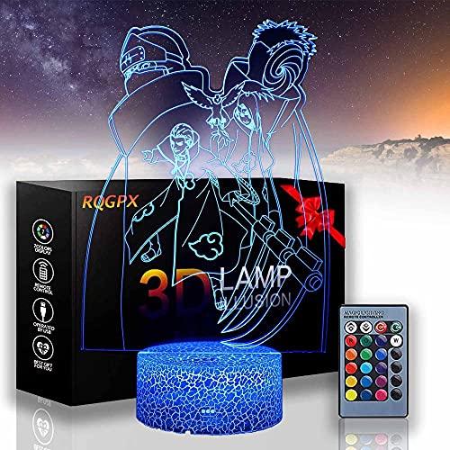 Hoshigaki Kisame Naruto - Lámpara de ilusión LED 3D para bebé, luz de noche de bebé, lámpara de mesa con control remoto para niños, Navidad, Halloween, cumpleaños