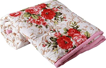 Mahadev Handicrafts Cotton Gold Red Flowers Printed Dohar Double Bed Reversible AC Dohar | Blanket | AC Comfort(Red-Flower-D)