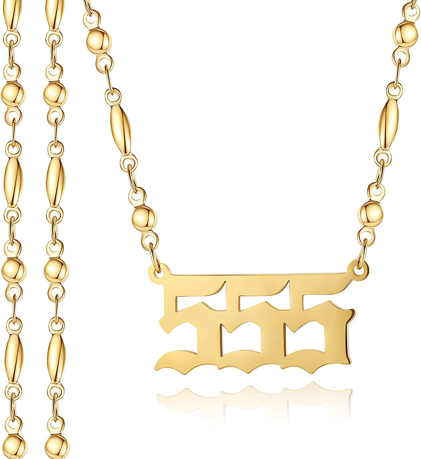SAM & LORI Angel Number Necklace 000 111 222 333 444 555 666 777 888 999 1010 1111 Dainty 18K Gold Plated Devil Necklace Pendants Choker Chain Numerology Jewelry Gift for Women Teen Girls Kids