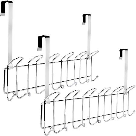 Minggoo Over The Door 13-Hook Rack Heavy-Duty Set of 2,, Wall Mounted Coat Rack,Door Clothes Hanger for Living Room, Cloakroom, Bathroom, Chrome Finish