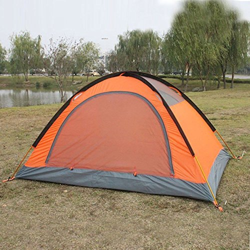 FLYTOP 3-4 Season 1-2-person Double Layer Backpacking Tent Aluminum Rod Windproof Waterproof for Camping Hiking Travel Climbing - Easy Set Up (Orange-3 Season)