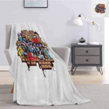 jecycleus Youth Commercial Grade Printed Blanket Urban World Street Life Graffiti Art Spraycan Characters and Drippy Blotchy Letters Queen King W54 by L72 Inch Multicolor