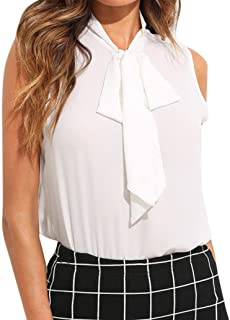 WM & MW Chiffon Blouse,Womens Tops Sleeveless Bow Tie Turtleneck White Office Work Casual Shirt Tank Top