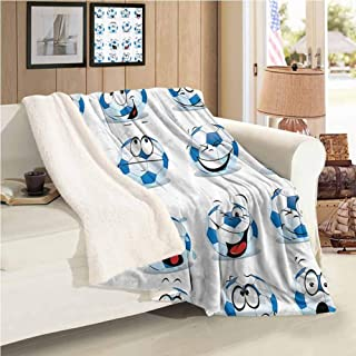 Xlcsomf Blanket Lamb Sports Decor Collection Nap Blanket (60 x 47 inch) Cartoon Soccer Ball with Many Expressions Bored Laughing Happy Smiley Image Blue White Red Pink