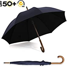 ABCCANOPY Umbrella Rain&Wind Teflon Repellent Wooden J Handle Classic Golf Umbrella Windproof UV Protection 50+ Stick Umbrellas(Wooden Navy Blue)