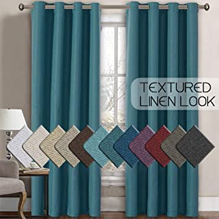 H.VERSAILTEX Linen Curtains Room Darkening Light Blocking Thermal Insulated Heavy Weight Textured Rich Linen Burlap Curtains for Bedroom/Living Room Curtain, 52 by 84 Inch - Aegean Blue (1 Panel)