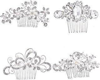 Lurrose Pearl Hair Comb Alloy Bride Hair Accessories Flower Rhinestone Inlay Headdress 4pcs