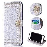 Shinyzone Glitzer Brieftasche Hülle für Samsung Galaxy S8 Plus,3D Blume Diamant Strass Magnetverschluss PU Leder mit Kartenfach,Kratzfest Stoßfest Silikon Bumper Handyhülle,Silber