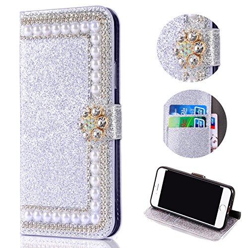 Shinyzone Huawei P20 Lite Glitzer Brieftasche Hülle,3D Blume Diamant Luxus Strass Magnetverschluss PU Leder Handytasche mit Kartenfächer,Kratzfest Stoßfest Silikon Bumper,Silber