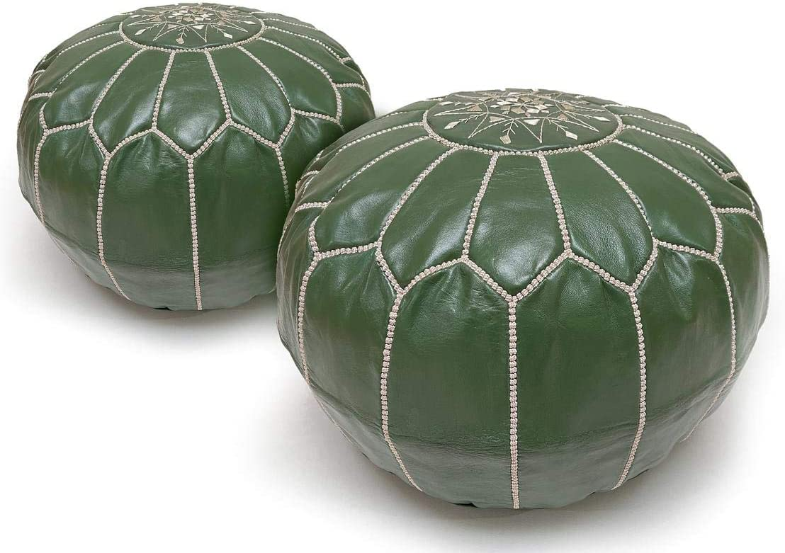 Set of 2 Green Store Moroccan Ottoman unstuffed Leather Genuine P Pouf Max 78% OFF