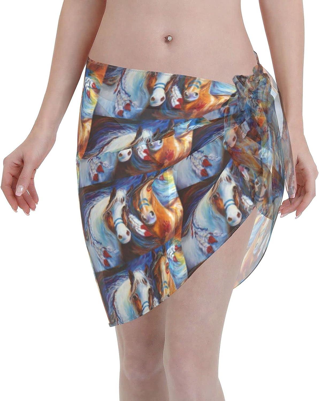 Native American Horse Women Short Sarongs Beach Wrap Bathing Suits Cover Ups Sheer Short Skirt Bikini Chiffon Scarf Black