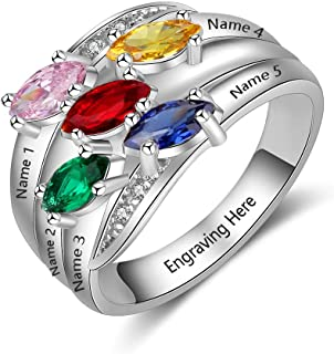 Personalized Mothers Rings with 5 Simulated Birthstones Family Promise Rings for Her Engraved 5 Names Granddaughter Jewelry