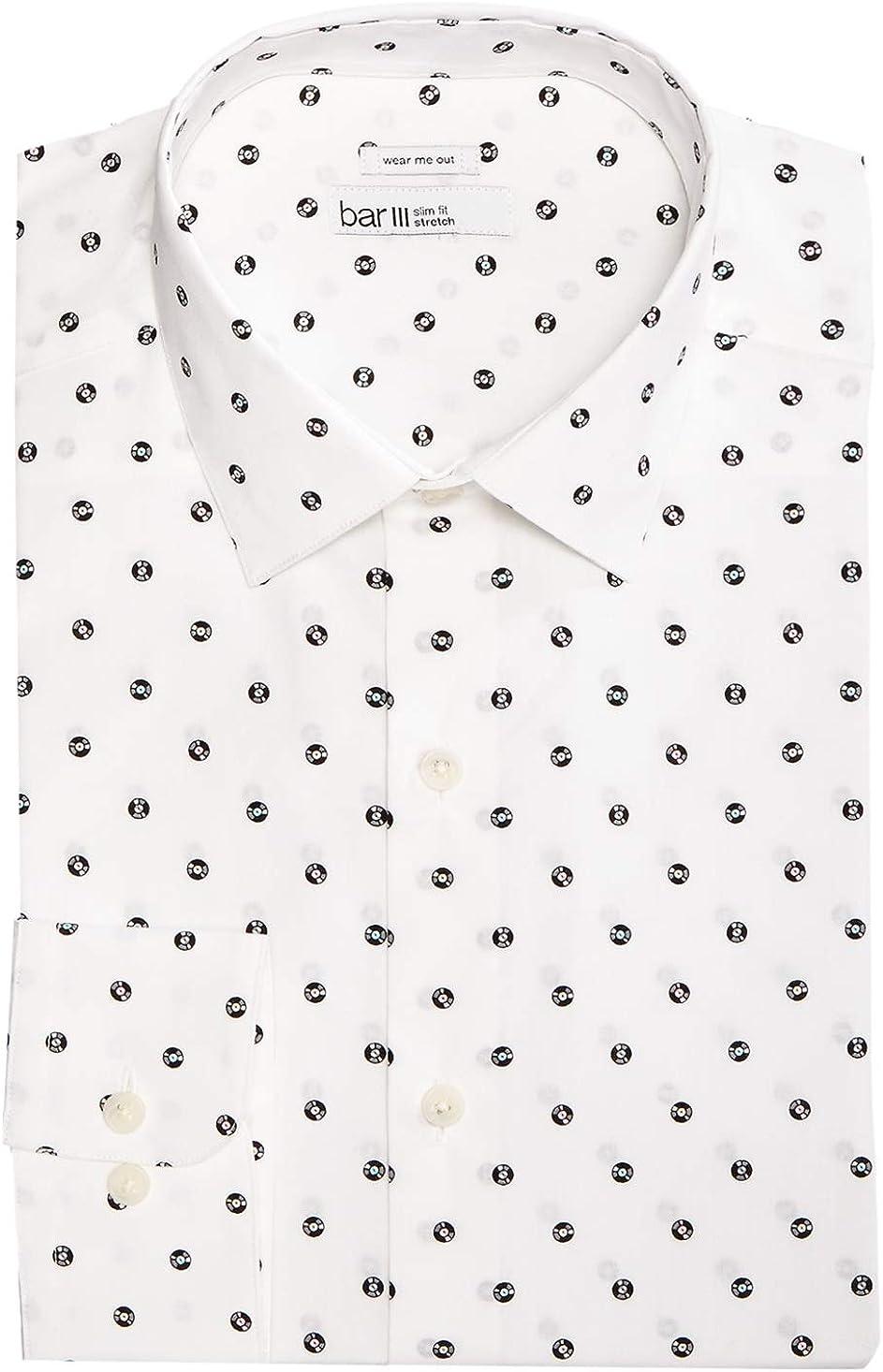 BAR III Men's Slim Fit Stretch Shorter Length Formal Dress Shirt