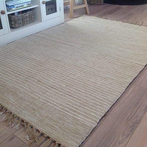 Second Nature - Alfombra, algodón y yute natural, 60 x 90 cm, diseño de rayas, color beis y crema