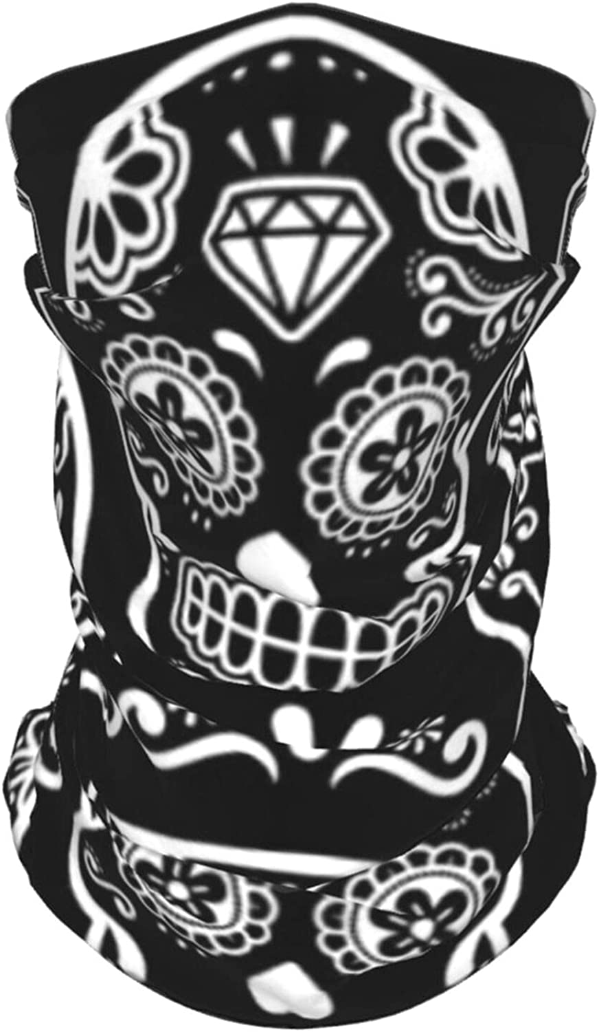 Mexican Sugar Skull Summer Ice Silk Breathable Face Mask Neck Gaiter Scarf Bandanas for Fishing,Hiking,Running,Motorcycle and Daily Wear