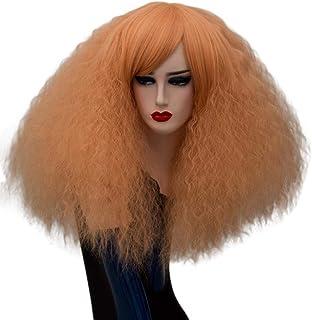FHKGCD Perruques De Cosplay Blonde Perruques Synthétiques Rose Rouge Vert Moyenne Cheveux Longs Vert Perruque pour Les Femmes