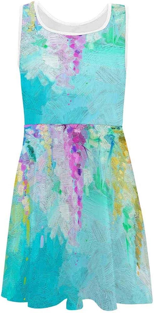 InterestPrint Kids Sleeveless Casual Summer Dress for Girls Spring Beautiful Yellow Fower (2T-XL)