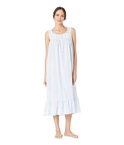 Eileen West Cotton Woven Swiss Dot Sleeveless Ballet Nightgown (Solid Light Blue) Women