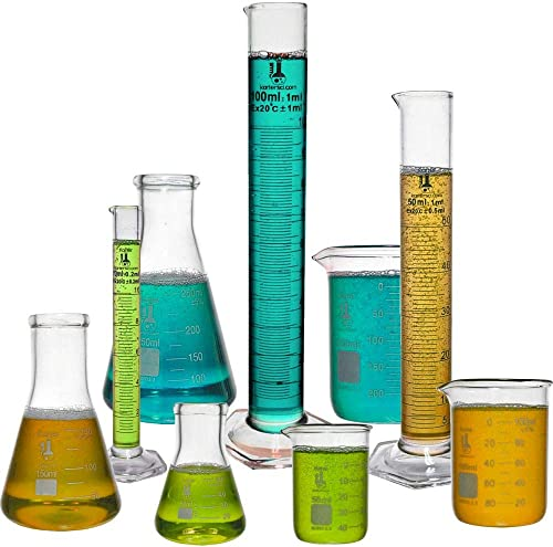 Beaker, Flask, Cylinder Set, 3.3 Boro. Glass - 9 Pieces - Beaker Set, Flask Set, and Graduated Cylinder Set, Karter S...