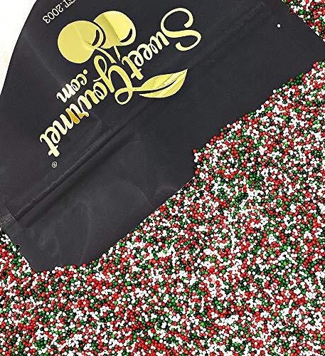 SweetGourmet Jingle Mix | Red Green White Christmas Nonpareils | 2 Pounds