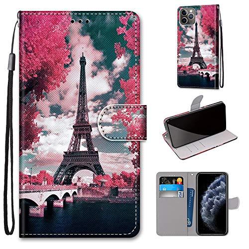 Miagon Flip PU Leder Schutzhülle für iPhone 12,Bunt Muster Hülle Brieftasche Case Cover Ständer mit Kartenfächer Trageschlaufe,Turm Blume