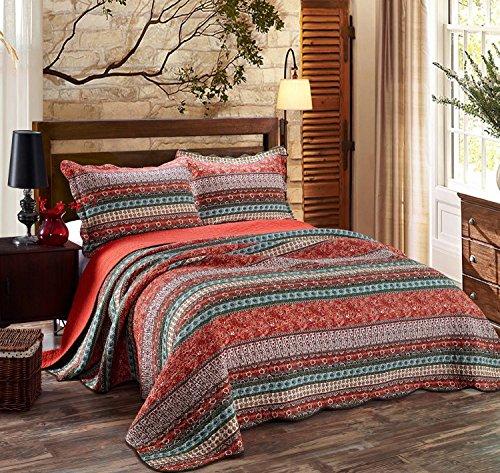 Alicemall Tagesdecke Bettwäsche 3 Teilig 100prozent Baumwolle Decke Soft Couch Überwurf 230 x 250 cm & 2 Kissenbezüge 50 x 70 cm - Retro Streifen