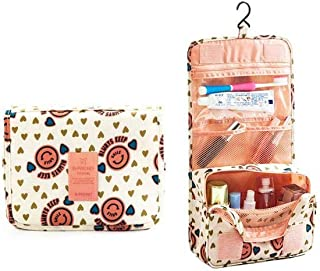 Portable Waterproof Cosmetic Makeup Toiletry Travel Hanging Organizer Storage Bag Pouch - Smiley Pink