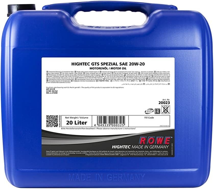 Rowe Hightec Gts Spezial Sae 20w 20 20 Liter Pkw Motoröl Mineralisch Hc Synthese Made In Germany Auto