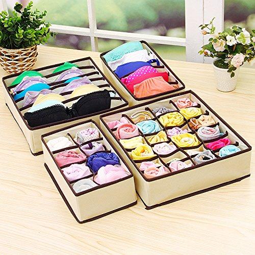 Yilan Rose Aufbewahrungsbox für Socken und Unterwäsche, 4 Stück Cremefarbene Vierer-Familie