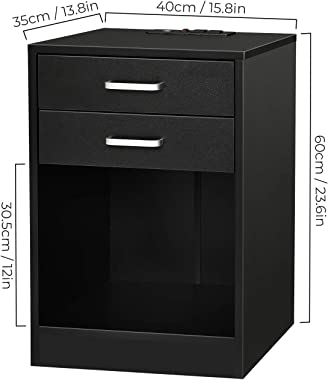 ADORNEVE Black Nightstand with USB Port for Bedroom End Table Side Table Wooden Sofa Side Storage Stand Cabinet,with Sliding