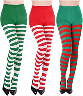 3 Pairs Striped Tights Full Footed Striped Socks Thigh High Stockings for Women Christmas Cosplay