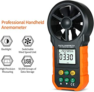 QYY Smart Digital Anemometer, Hand-Held Wind Speed Gauge Meter 0.3~30M/S with LCD Backlight for Weather Data Collection Outdoors Sailing Surfing Fishing