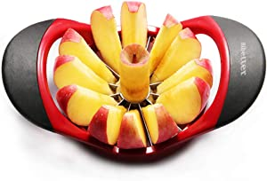 Yoikerpt Easy Grip Apple Corer Slicer-Divider-Cutter-Wedger, Ergonomic Rubber Grip Handle, 12-Blades