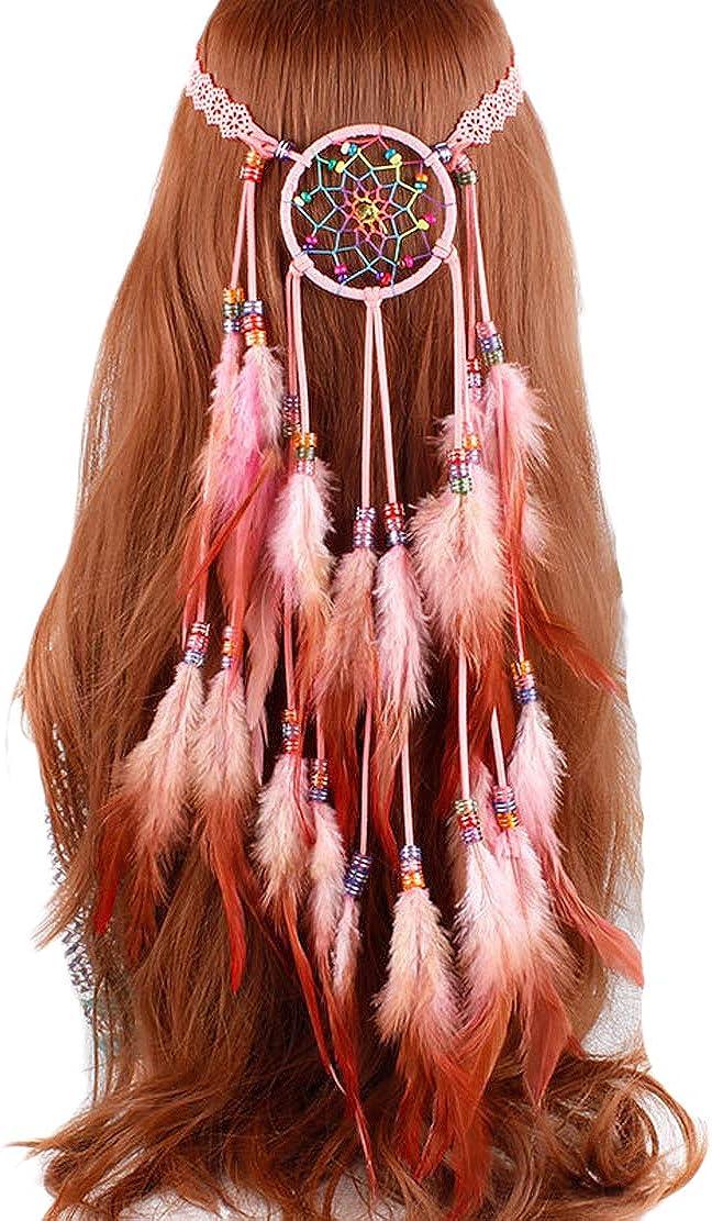 5 ☆ very popular LeJulyeekay Women's Boho Feather 35% OFF Fascinator Headband Tassel Hair