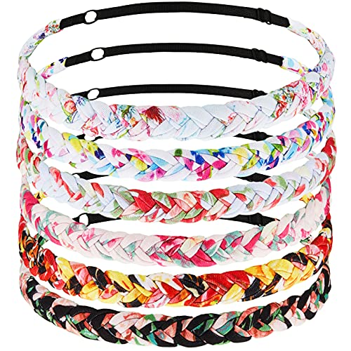 6 Pieces Floral Braided Headbands Adjustable Braided Hairband Non Slip Braided Headband Elastic Braided Hairband Floral Fabric Hair Accessories for Women Girls Teen Birthday Party Favor, 6 Styles