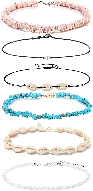 SHIWE 6PCS Bohemian Puka Shell Choker Necklaces for Women Girls Handmade Hawaii Beads Pearls Cowrie Shells Choker Necklace Beach Jewelry Set